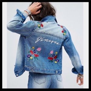 Missguided Embroidered Studded Jean Jacket